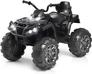 Costzon Kids Ride On ATV, Quad de 4 ruedas con batería de 12V con suspensión de resorte, velocidades altas / bajas, faros, MP3, bocina, TF, USB, funciones de radio, vehículo eléctrico para niños y niñas (negro)