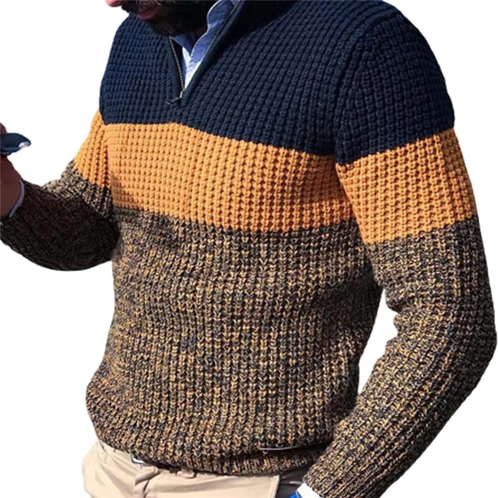 ZTTZX Men Autumn Winter Pullover Sweaters Long Sleeve V Neck Color Block Knitted Sweater Basic Turtleneck Knitted Sweater Male Clothes (Color : Multi-colored, Size : XL code)