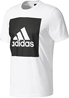 adidas Men's B47358 Essentials Box Logo T-Shirt, White, 2XL