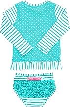 RuffleButts Baby/Toddler Girls Long Sleeve Rash Guard 2-Piece Swimsuit Set - Stripes Polka with UPF 50+ Sun Protection