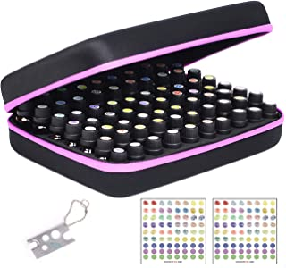Essential Oil Carrying Organizer Storage Case for 70 Roller Bottles 5/10/15/20ml Small bottles with Free Writable Labels Opener Holds Purple