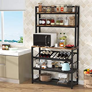 TIYASE 6-Tier Kitchen Baker's Rack with Storage and Wine Rack, Industrial Microwave Cart Kitchen Stand with Hutch, 6 Hook...