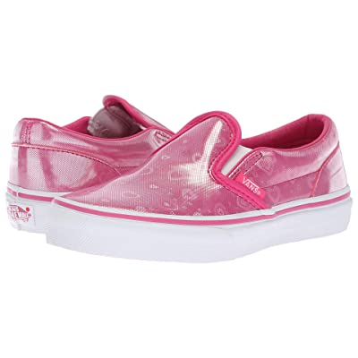 Vans Kids Classic Slip-On (Little Kid/Big Kid) ((Holo Hearts) Magenta/True White) Girls Shoes