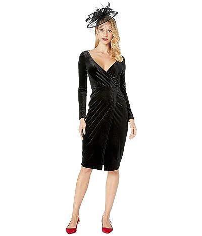 Unique Vintage Velvet Long Sleeve Damsel Wiggle Dress (Black) Women