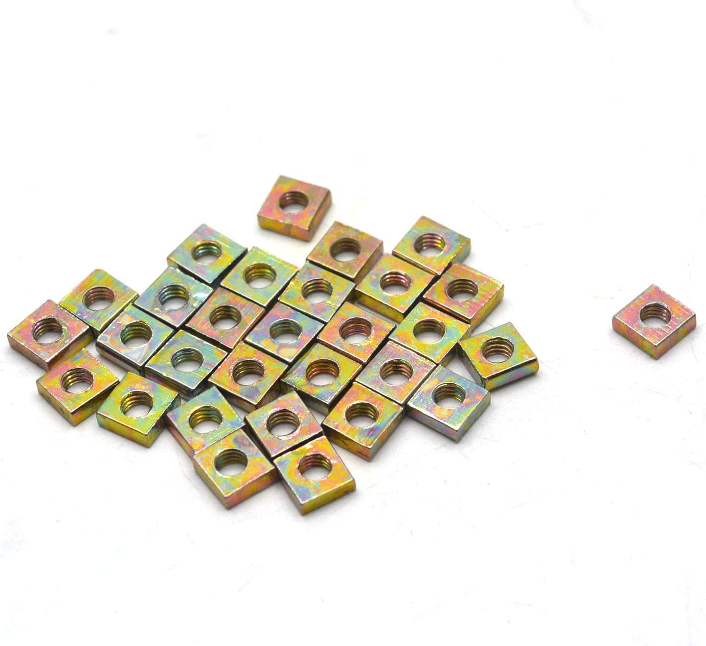 Large discharge sale Antrader 30pcs Zinc Plated Nuts Square Fort Worth Mall M3