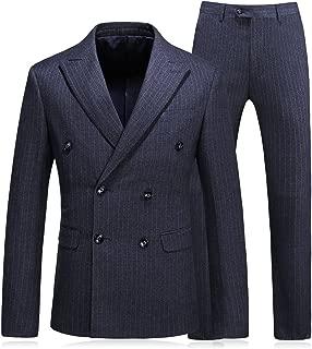 Mens Double Breasted Pinstripe 3 Piece Suit Slim Fit Blazer Jacket & Trousers & Waistcoat