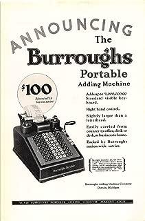 Print Ad 1926 Burroughs Portable Adding Machine