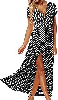 ACHIOOWA Mujer Vestido Elegante Casual Playa Bohemio Dress Lunares Cuello V Manga Corta Escote Fiesta Cóctel Falda Larga