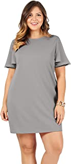 Womens Cocktail Short Sleeve Plus Size Shift Dresses - Made in USA