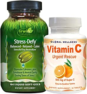 IRWIN NATURALS Stress-Defy 84ct + Vitamin C 30ct Bonus Pack