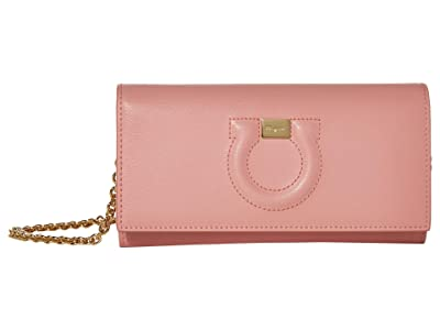 Salvatore Ferragamo Gancio Wallet On Chain (Desert Rose) Handbags