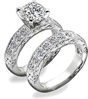 40f63ff82 Venetia Supreme Realistic 1.5 or 2 Carats Art Decor Hearts and Arrows Cut  Simulated Diamond Ring