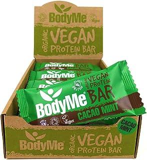 BodyMe Organic Vegan Protein Bar | Raw Cacao Mint | 12 x 60g Vegan Protein Snack Bars | Gluten Free | 16g Complete Protein...
