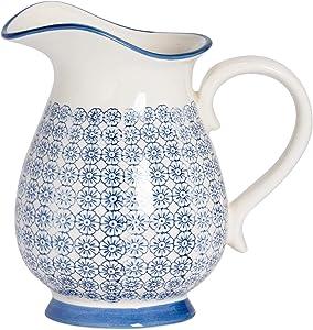 Nicola Spring Grand Vase/pichet à Eau à Motifs - Fleur Bleue imprimée - 2,2 litres