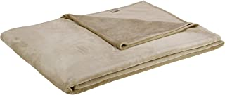 AmazonBasics - Manta, hecha de felpa de terciopelo suave - 229 x 274cm - arena