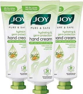 JOY Pure & Safe Hydrating & Germ Protection Hand Cream with Tulsi, Turmeric & Tea Tree (Pack of 3 X 50ml)