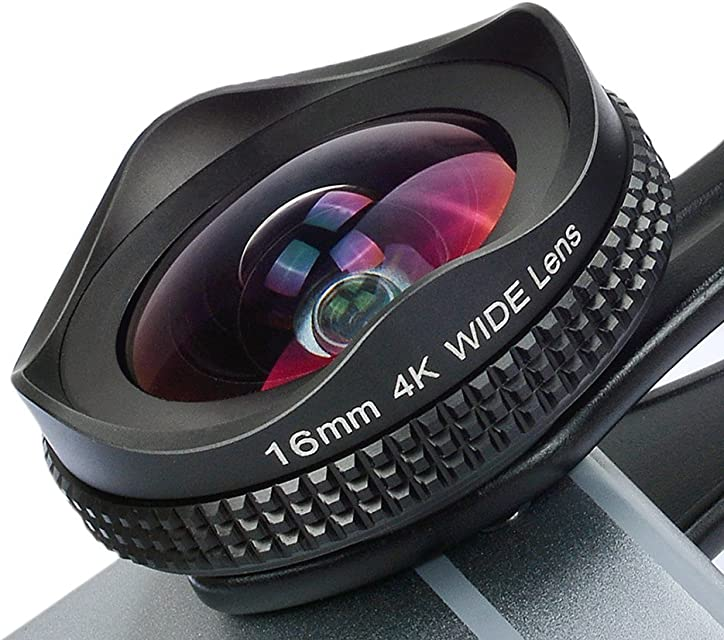 Apexel Profesional 4K HD - Lente Gran Angular con Lente CPL para iPhone 7 SE 6 / 6s Más Samsung S7 / S7 Edge y la mayoría de Smartphone Android (Sin Círculo Oscuro) - Negro