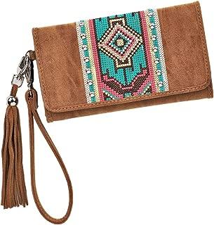 Blazin Roxx Women's Aztec Embellishment Clutch Wallet, Tan, OS