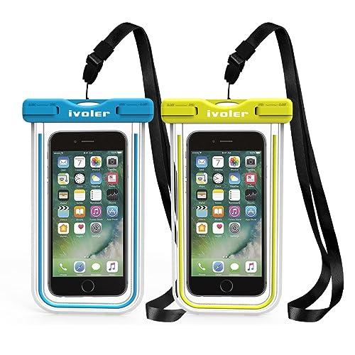iVoler [IPX8 Certificato] Custodia Impermeabile, [2 Pack] Custodia Cellulare Impermeabile Universale Waterproof Cover Case Impermeabile per iPhone, Samsung, Huawei, Xiaomi, ECC. (Blu+Verde)