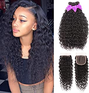 9A Brazilian Virgin Hair Water Wave 3 Bundles with Closure (10 12 14+10) 100% Unprocessed Human Hair Bundles with Lace Closure Natural Color