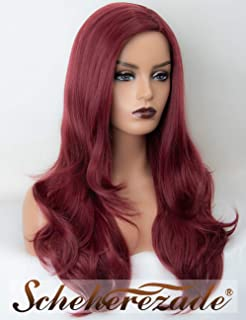 Long Wavy Wine Red 99j Synthetic Wigs for Black Women Scheherezade 20 Inches None Lace Full Machine Made Burgundy Wigs Glueless Heat Resistant