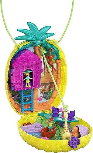 Polly Pocket Coffret Sac à Surprises Ananas avec mini-figurines Polly et Lila, accessoires et autocollants, jouet enf...