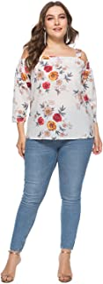Medeshe Women's Shoulder Off Tunic Top Spaghetti Strap Floral Print Blouse Plus Size