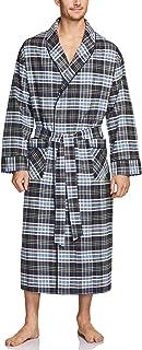 CQR Men's 100% Cotton Flannel Robe, Lightweight Soft Plaid Lounge & Night Sleepwear Robes