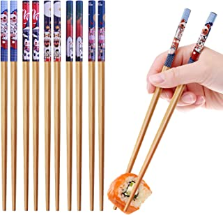 10-Pairs Bamboo Chopsticks,GLAMFIELDS Reusable Chopsticks Set Classic Natural Bamboo Chop Sticks Dishwasher Safe 9 1/2 Inches (Cute Cat Drawing)