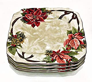 222 Fifth Poinsettia Yuletide Celebration Set of 4 Square Christmas Dinner Plates | 10.75