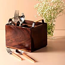 Nestroots Cutlery Holder Wooden Cane Handle Spoon Stand Multipurpose for Dining Table, Perfect House Warming Gift