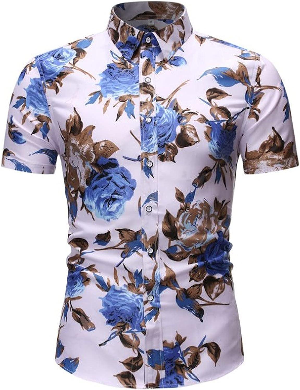 WoCoo Mens Print Shirt Casual Short Sleeve Lapel Button Down Shirts Regular-Fit Poplin Floral Shirt Aloha Hawaiian Tee