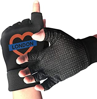 WAYOULUCK Men's Women's Love London Half Finger Gloves Gym Glove