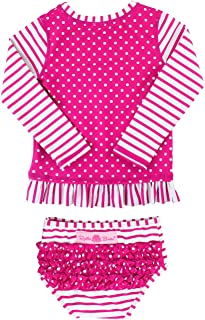 RuffleButts Little Girls Long Sleeve Rash Guard 2-Piece Swimsuit Set - Stripes Polka with UPF 50+ Sun Protection