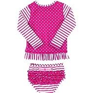 RuffleButts Little Girls Long Sleeve Rash Guard 2-Piece Swimsuit Set - Stripes Polka with UPF 50+...