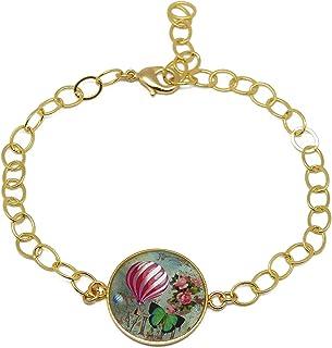 Bracciale mongolfiera bracciale 24 K oro verde resina rosa bianco regolabile regali personalizzati Natale amici madre comp...
