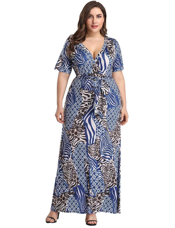 Lovelychica Women's Plus Size Leopard Print Maxi Wrap Dress Short Sleeve Swing Dress