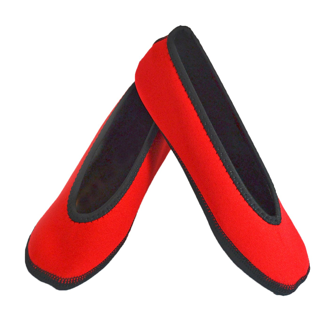 NuFoot Ballet Flats Women's Shoes, Foldable & Flexible Flats, Slipper Socks, Travel Slippers & Exercise Shoes, Dance Shoes, Yoga Socks, House Shoes, Indoor Slippers, Red, X-Large