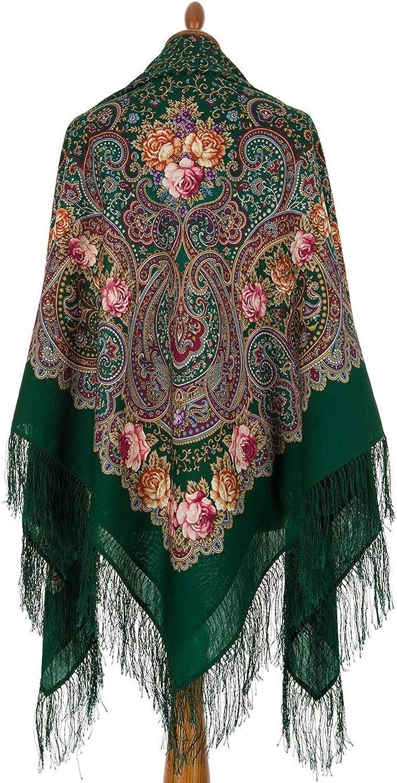 Pavlovo Posad Russian Shawl 100% Wool 57x57  146x146 cm Scarf Silk Tassels 17230