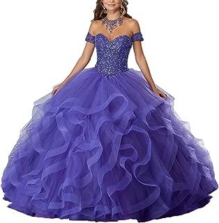 Yisha Bello Women's Off The Shoulder Crystal Beaded Organza Ruffles Prom Ball Gown