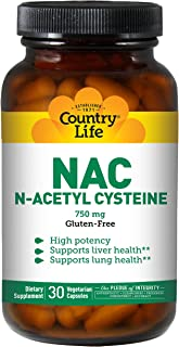 Country Life NAC 750mg N-Acetyl Cysteine High Potency Antioxidant Free-Radical Protection & Immune System, Liver & Lung He...