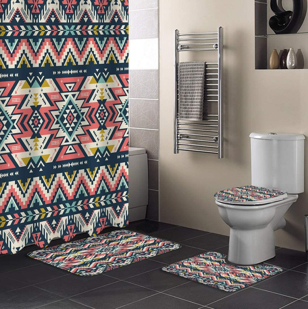 MUSEDAY Max 77% OFF 4 Piece Shower Curtain Set Rug New product Non-Slip Lid with Toilet