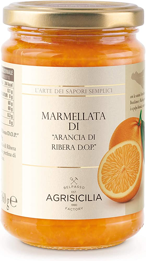 Agrisicilia,marmellata di arancia di ribera dop, 360 gr,prodotto artigianale Agr059