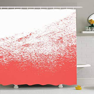 Ahawoso Shower Curtain Set with Hooks 60x72 Colorful Abstract Living Coral Color Year Red Brush 16 1546 Beauty Orange Beautiful Black Diagonal Waterproof Polyester Fabric Bath Decor for Bathroom