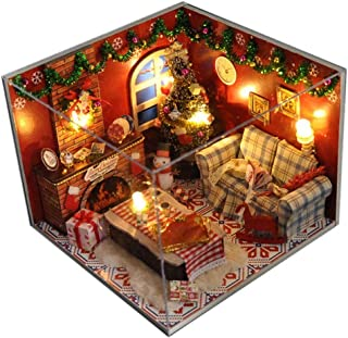 Flever Dollhouse Miniature DIY House Kit Creative Room with Furniture and Glass Cover for Romantic Artwork Gift(Christmas Eve)