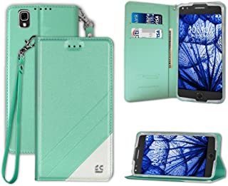 PimpCase Compatible with Alcatel One Touch Idol 4 Case, Nitro49, Slim Design Synthetic Leather [ Flip Wallet Cover ] with Stand Feature Magnetic Closure Detachable Wrist Strap - Mint