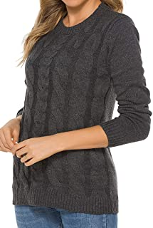 Women's Crewneck Long Sleeve Cable Knit Pullover Sweater Tops