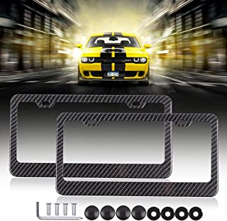 License Plates Frames Car Licenses Plate Covers Aluminum with Screw Caps 2 Pcs 2 Holes Black Powder Coated Plate Cover Frame Shield Combo