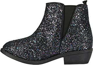 Girls Chunky Glitter Ankle Boots with Elastic Gusset Dress Fashion Shoes