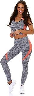 StyleLightOne Damen Top & High-Waist Leggings Fitness Set Sport Freizeit ZweiteilerZweifarbig Stretch 36